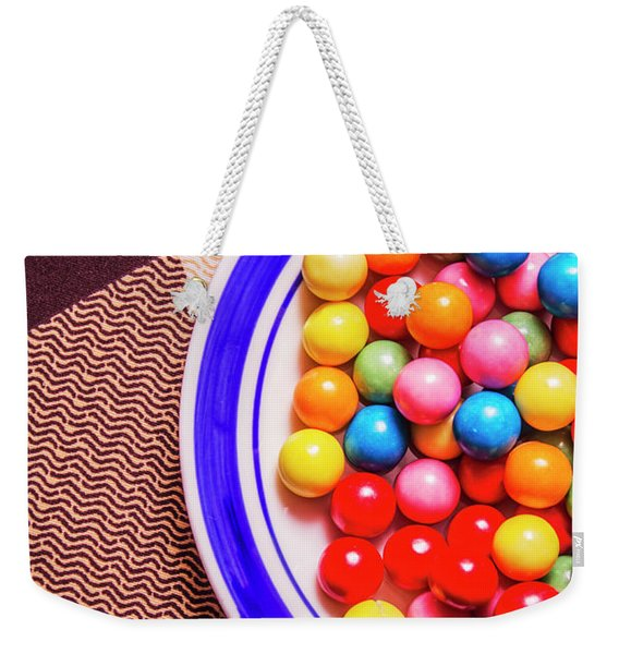 Colorful Gumballs On Plate Weekender Tote Bag