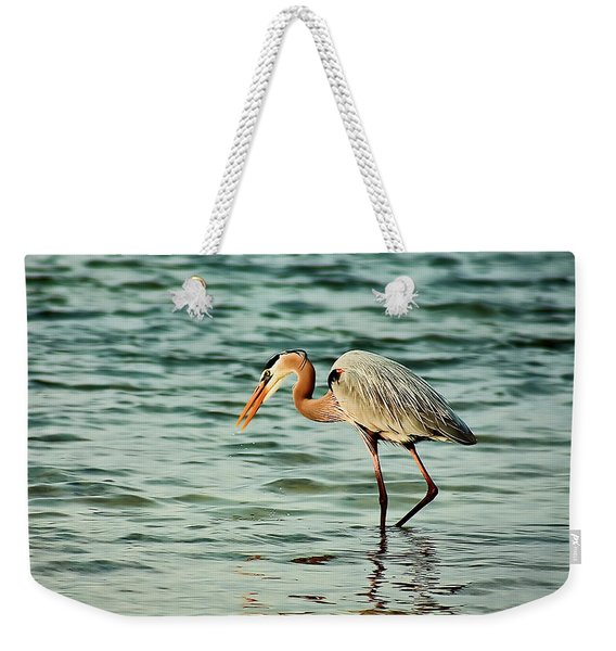 Colorful Heron Weekender Tote Bag