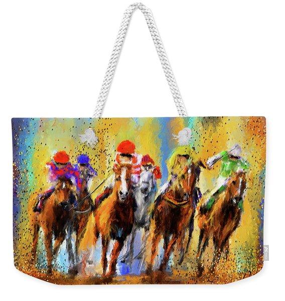 Colorful Horse Racing Impressionist Paintings Weekender Tote Bag
