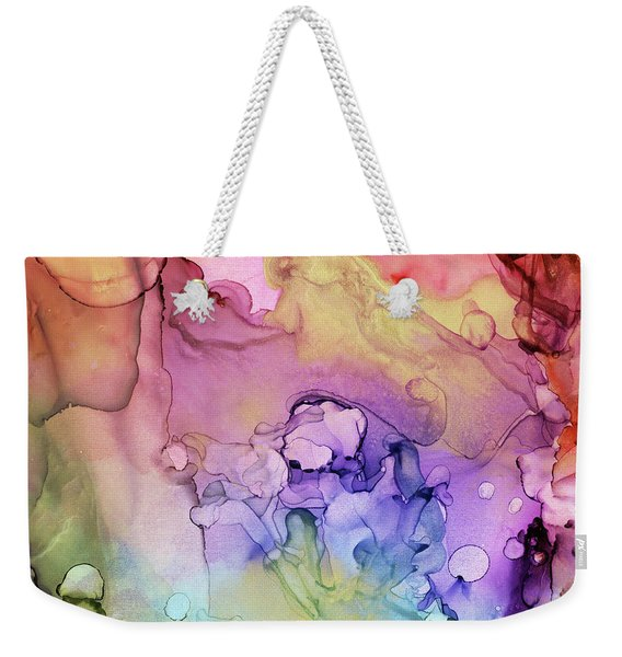 Colorful Ink Swirls With Gold Marble Weekender Tote Bag