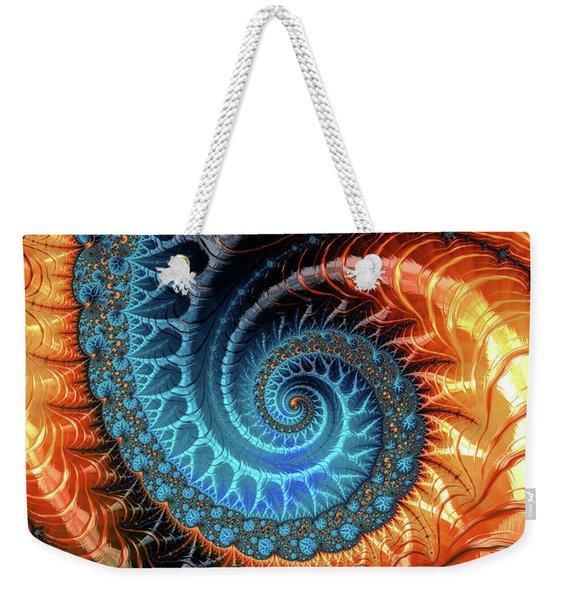 Colorful Luxe Fractal Spiral Turquoise Brown Orange Weekender Tote Bag
