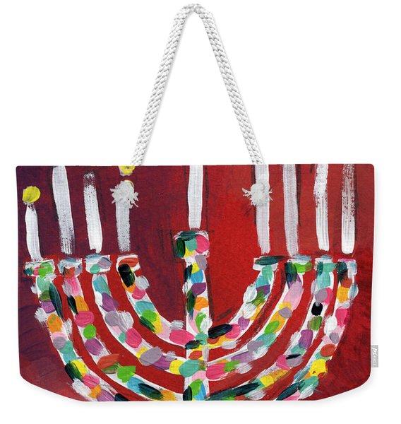 Colorful Menorah- Art By Linda Woods Weekender Tote Bag