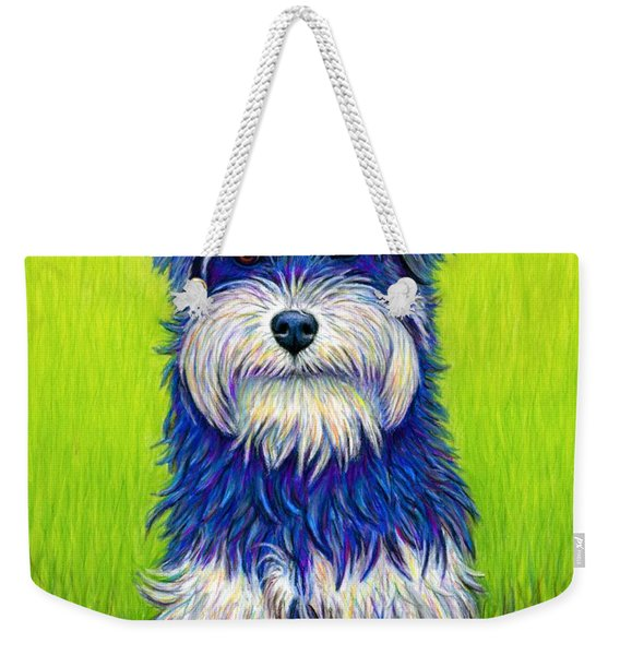 Colorful Miniature Schnauzer Dog Weekender Tote Bag