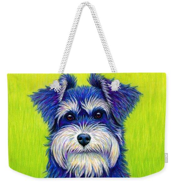 Colorful Miniature Schnauzer Dog Weekender Tote Bag