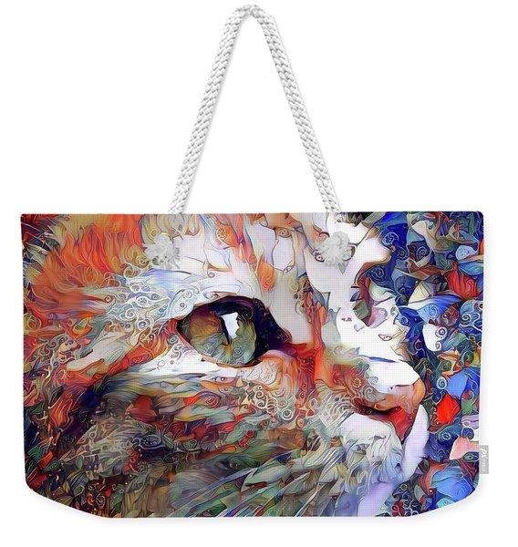 Colorful Orange Cat Art Weekender Tote Bag