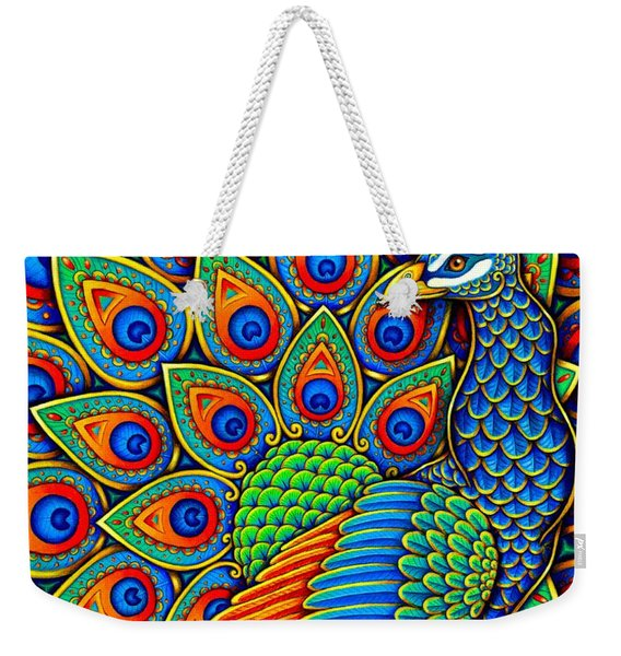 Colorful Paisley Peacock Weekender Tote Bag