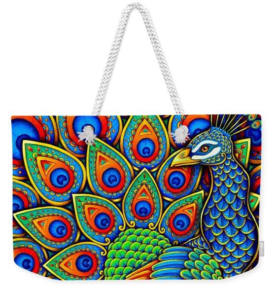 Colorful Paisley Peacock Weekender Tote Bag