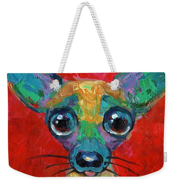 Colorful Pop Art Chihuahua Painting Weekender Tote Bag