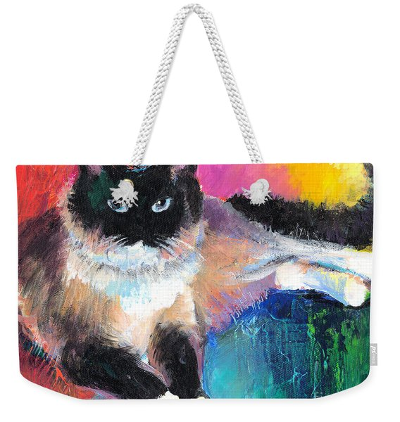 Colorful Ragdoll Cat Painting Weekender Tote Bag