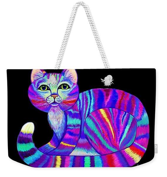 Colorful Rainbow Kitty Weekender Tote Bag