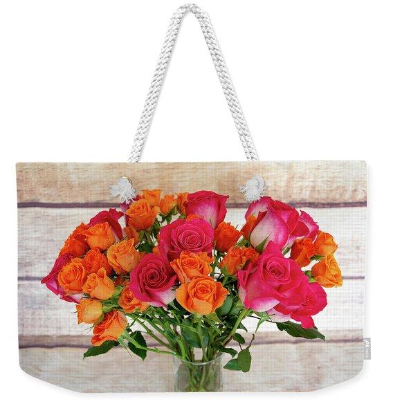 Colorful Rose Bouquet Weekender Tote Bag