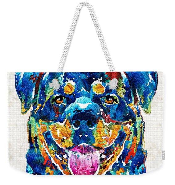 Colorful Rottie Art - Rottweiler By Sharon Cummings Weekender Tote Bag