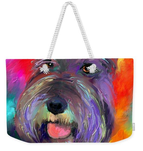 Colorful Schnauzer Dog Portrait Print Weekender Tote Bag