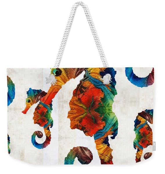 Colorful Seahorse Collage Art By Sharon Cummings Weekender Tote Bag