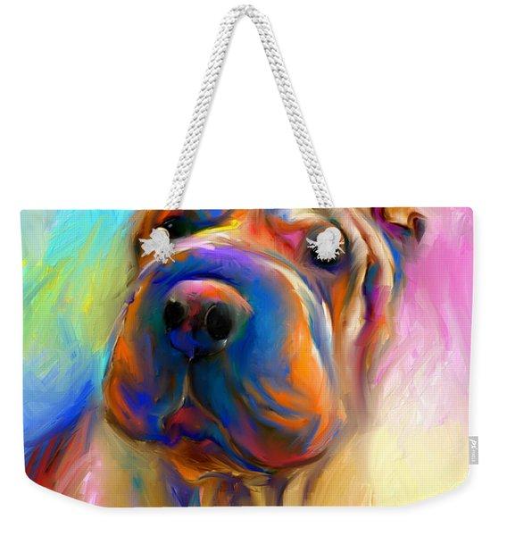 Colorful Shar Pei Dog Portrait Painting  Weekender Tote Bag