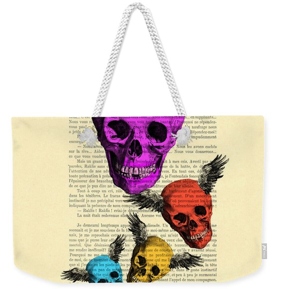 Colorful Rainbow Skull With Wings Illustration On Book Page Weekender Tote Bag