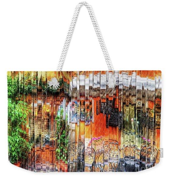 Colorful Street Cafe Weekender Tote Bag