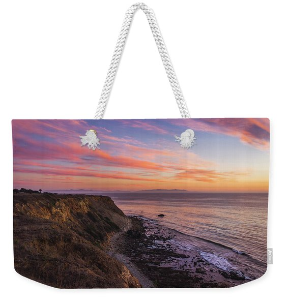 Weekender Tote Bag featuring the photograph Colorful Sunset At Golden Cove by Andy Konieczny
