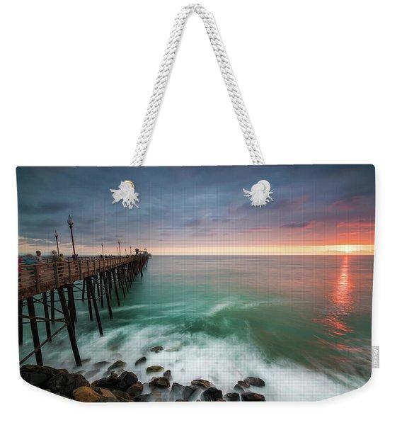 Colorful Sunset At The Oceanside Pier Weekender Tote Bag