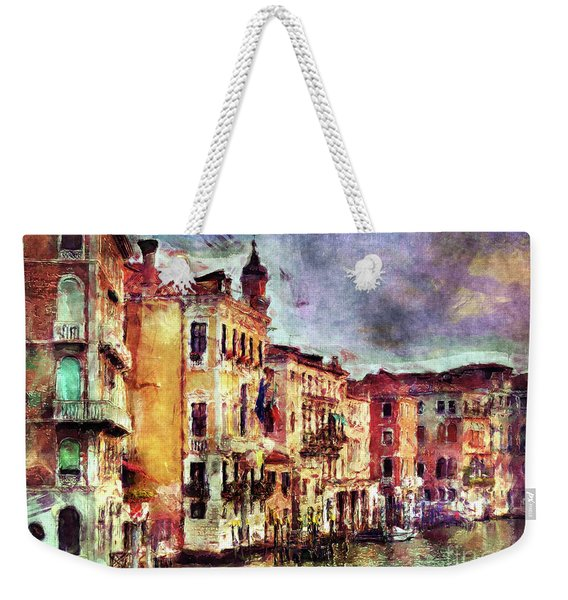 Colorful Venice Canal Weekender Tote Bag