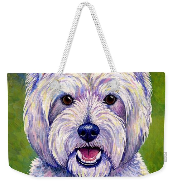 Colorful West Highland White Terrier Dog Weekender Tote Bag