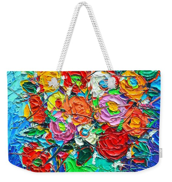 Colorful Wildflowers Abstract Modern Impressionist Palette Knife Oil Painting By Ana Maria Edulescu  Weekender Tote Bag