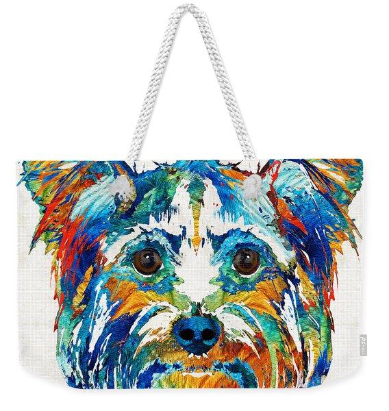 Colorful Yorkie Dog Art - Yorkshire Terrier - By Sharon Cummings Weekender Tote Bag