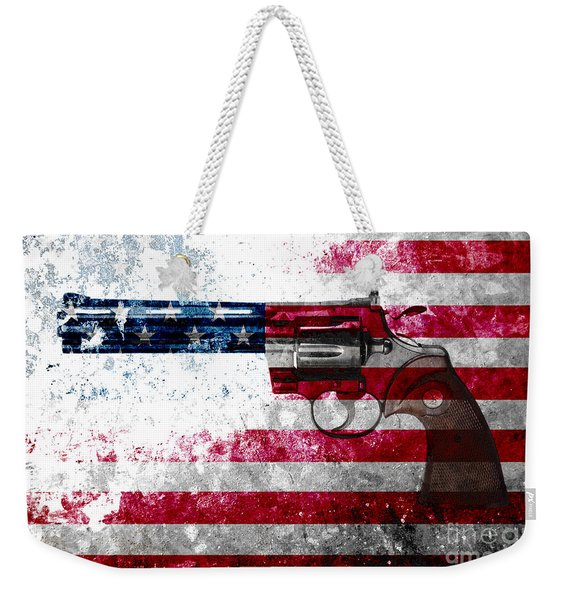 Colt Python 357 Mag On American Flag Weekender Tote Bag