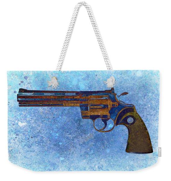 Colt Python 357 Mag On Blue Background. Weekender Tote Bag