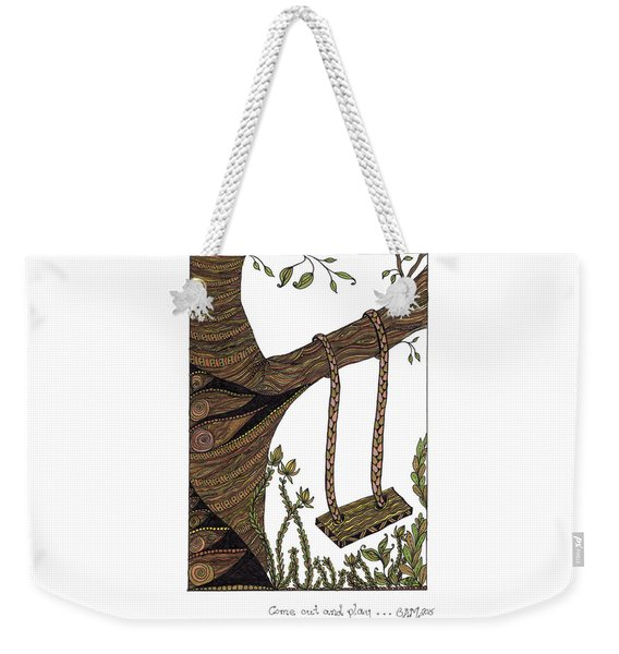 Weekender Tote Bag featuring the drawing Come Out And Play by Barbara McConoughey