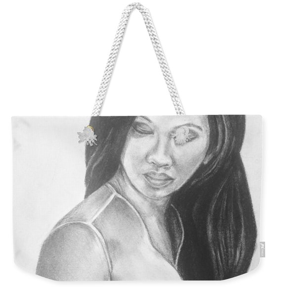 Long Hair Asian Lady With Rose In Sorrow Charcoal Drawing  Weekender Tote Bag