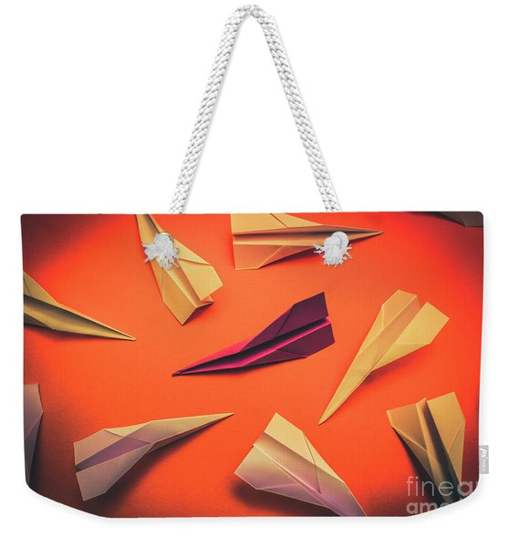Conceptual Photo Of Arranged Paper Planes On Bright Background Weekender Tote Bag