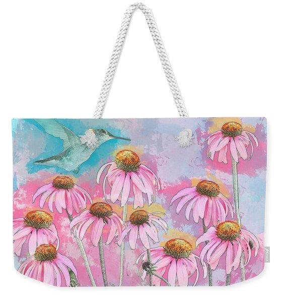 Coneflower Hummingbird Watercolor Weekender Tote Bag