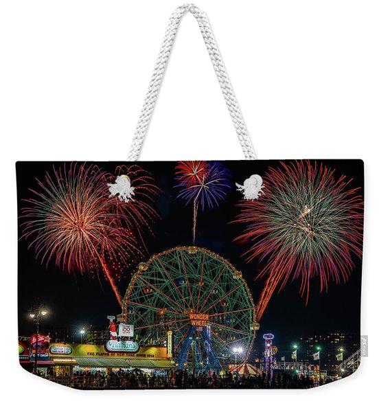 Coney Island At Night Fantasy Weekender Tote Bag