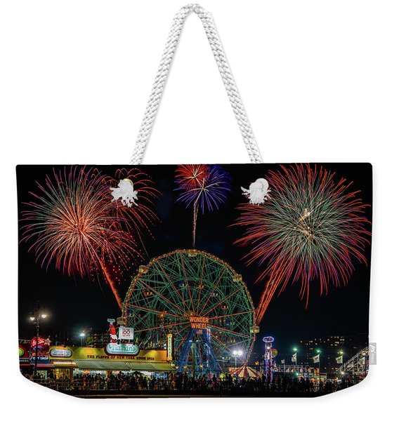 Coney Island At Night Fantasy Weekender Tote Bag