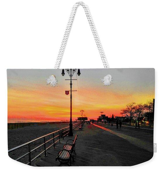 Coney Island Boardwalk Sunset Weekender Tote Bag