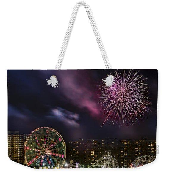 Coney Island Fireworks Weekender Tote Bag