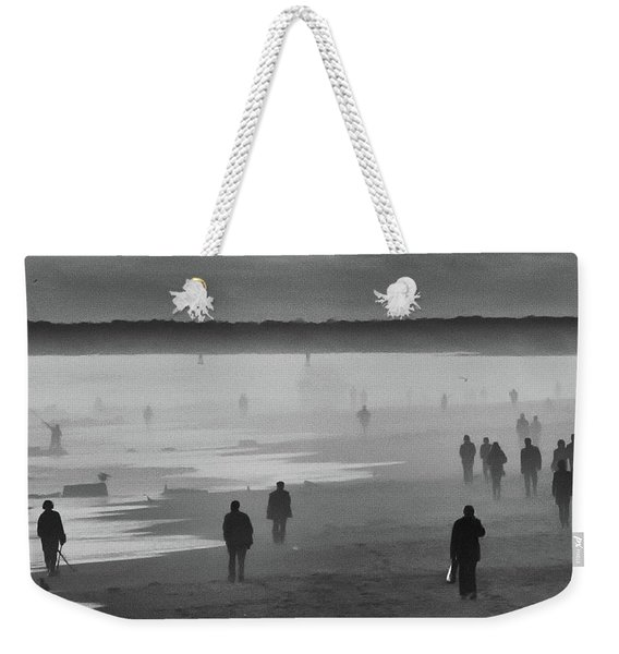 Weekender Tote Bag featuring the photograph Coney Island Walkers by Eric Lake