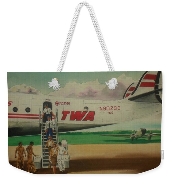 Connie Crew Deplaning At Columbus Weekender Tote Bag