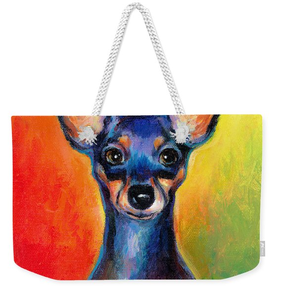 Contemporary Colorful Chihuahua Chiuaua Painting Weekender Tote Bag