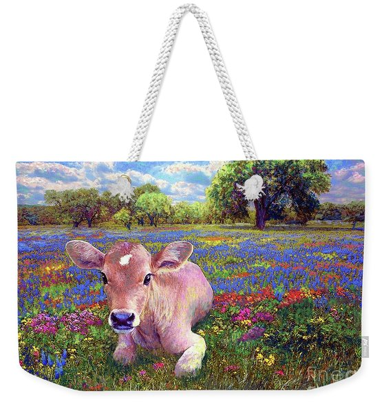 Contented Cow In Colorful Meadow Weekender Tote Bag