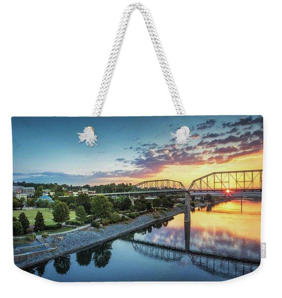 Coolidge Park Sunrise Panoramic Weekender Tote Bag