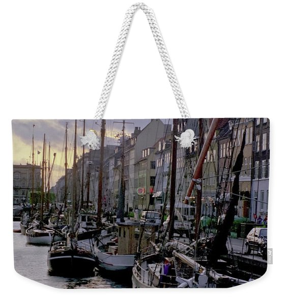 Weekender Tote Bag featuring the photograph Copenhagen Quay by Frank DiMarco