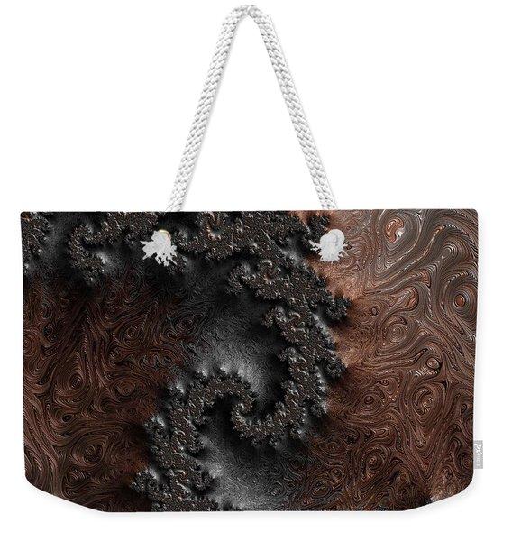 Copper And Steel Embossed Spiral Abstract Weekender Tote Bag