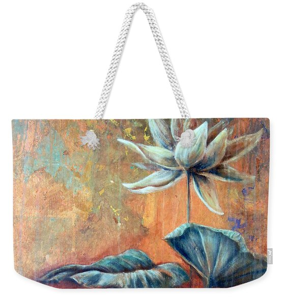 Weekender Tote Bag featuring the painting Copper Lotus by Ashley Kujan