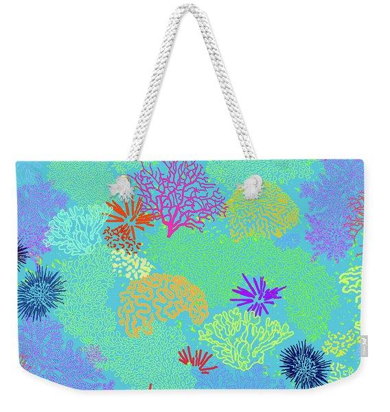 Coral Garden Bright Aqua Multi Weekender Tote Bag