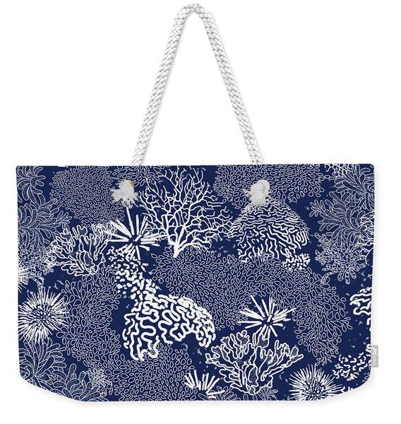 Coral Garden Indigo And White Weekender Tote Bag