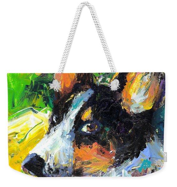 Corgi Dog Portrait Weekender Tote Bag