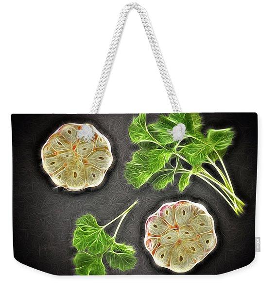 Coriander And Garlic Still Life. Weekender Tote Bag