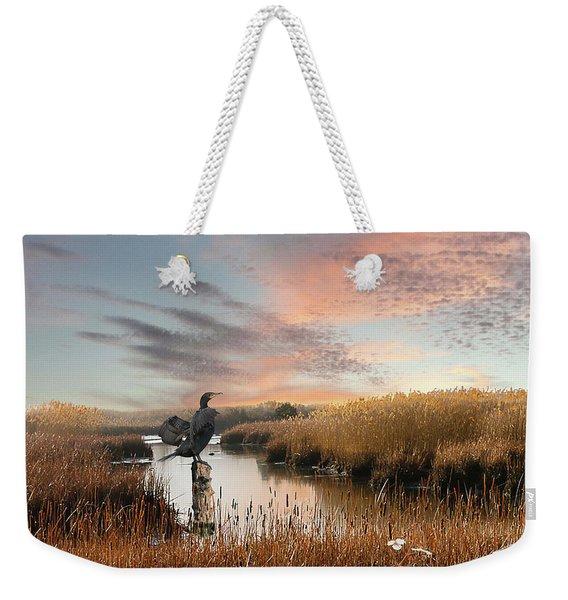 Cormorant At Sunset Weekender Tote Bag
